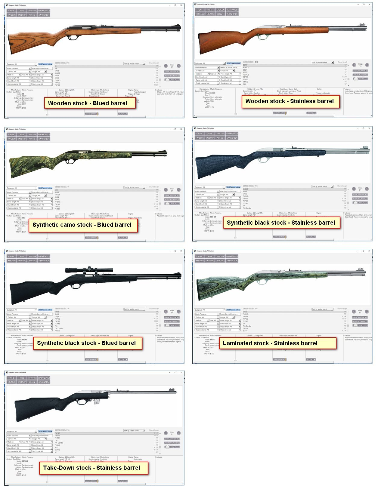 Firearms guide guns are presented in different finishes stock types and stock materials pooptronica Images